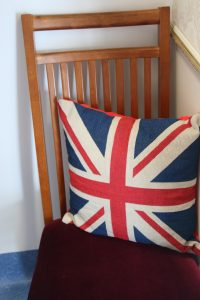 Image of a UK flag pillow at the London Suite